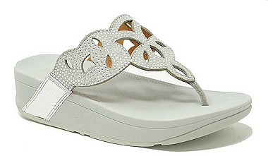 FitFlop™ Elora Crystal Toe Thongs™ silver